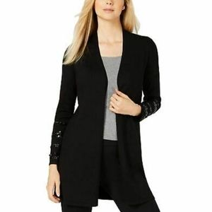 Alfani PS & PM Sequined Open Front Cardigan